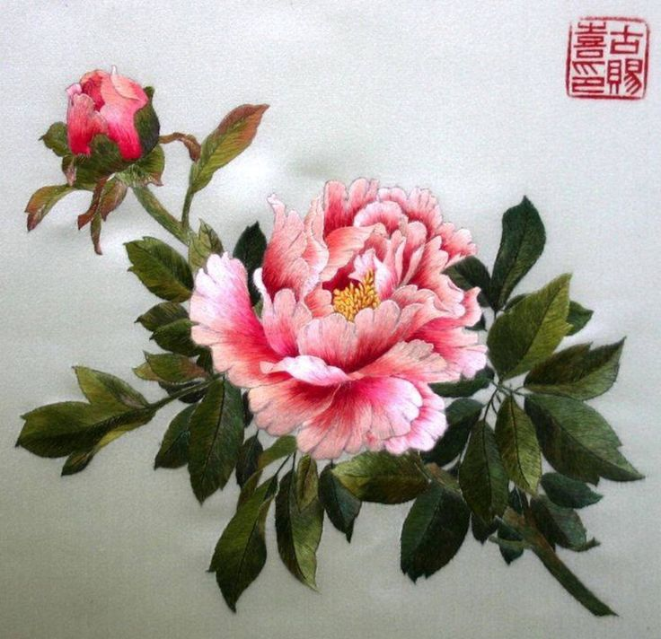 Paeonia. Embroidery