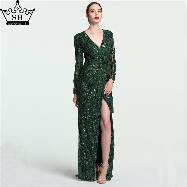 US $252.85 -- Роскошный темно-зеленый с длинным рукавом Вечерние платья 2017 Sexy Глубокий v-образным вырезом сбоку Разделение бисером и блестками серый Дубай Арабский Robe De вечер купить на AliExpress