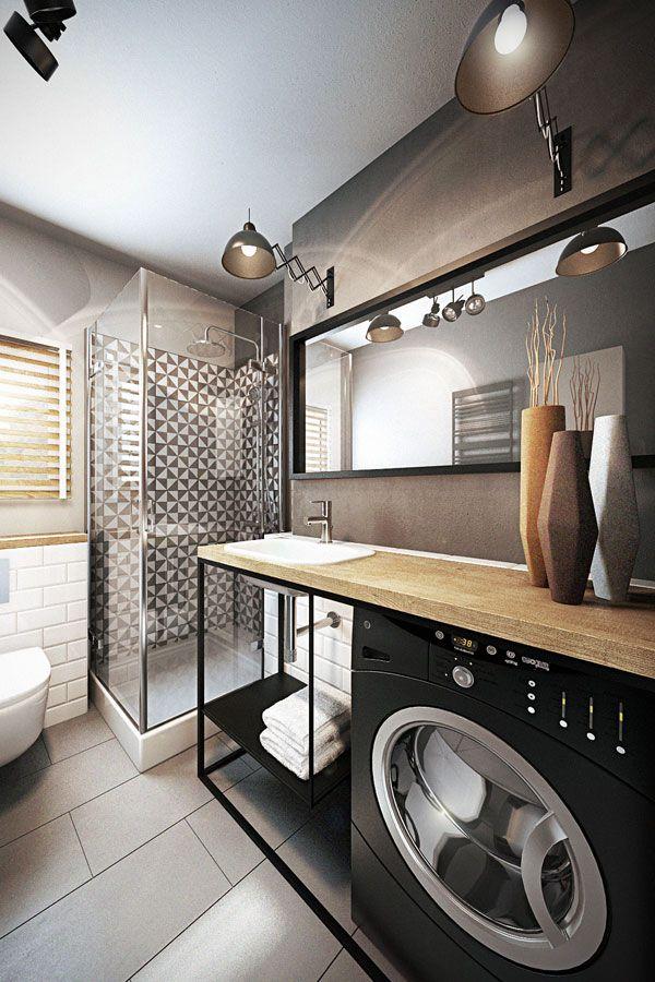 Pralka w łazience z prysznicem