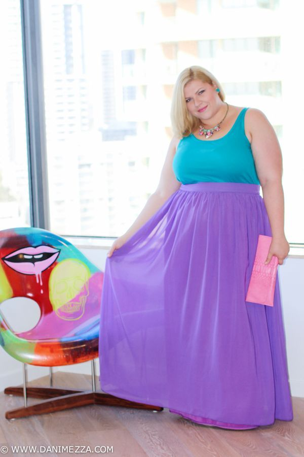 Plus size purple and pink maxi dress