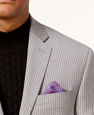 Sean John Men's Classic-Fit Stretch Gray Pinstripe Suit Jacket - Gray 42S