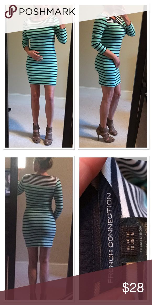 French Connection striped bodycon dress size 6 Colors are teal and navy blue and white with three-quarter sleeves. Sexy and sophisticated 20% off when you purchase more than 1 item from my closet 🚫 trades French Connection Dresses