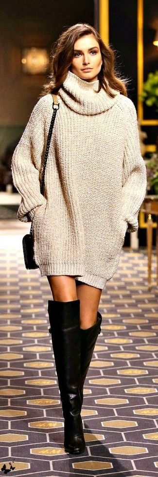 Women's Beige Knit Sweater Dress, Black Leather Over The Knee Boots, Black Leather Crossbody Bag