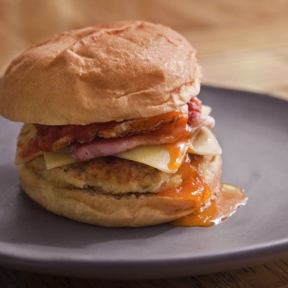 Baked Bean Breakfast Burger with Chilli-Tomato Relish