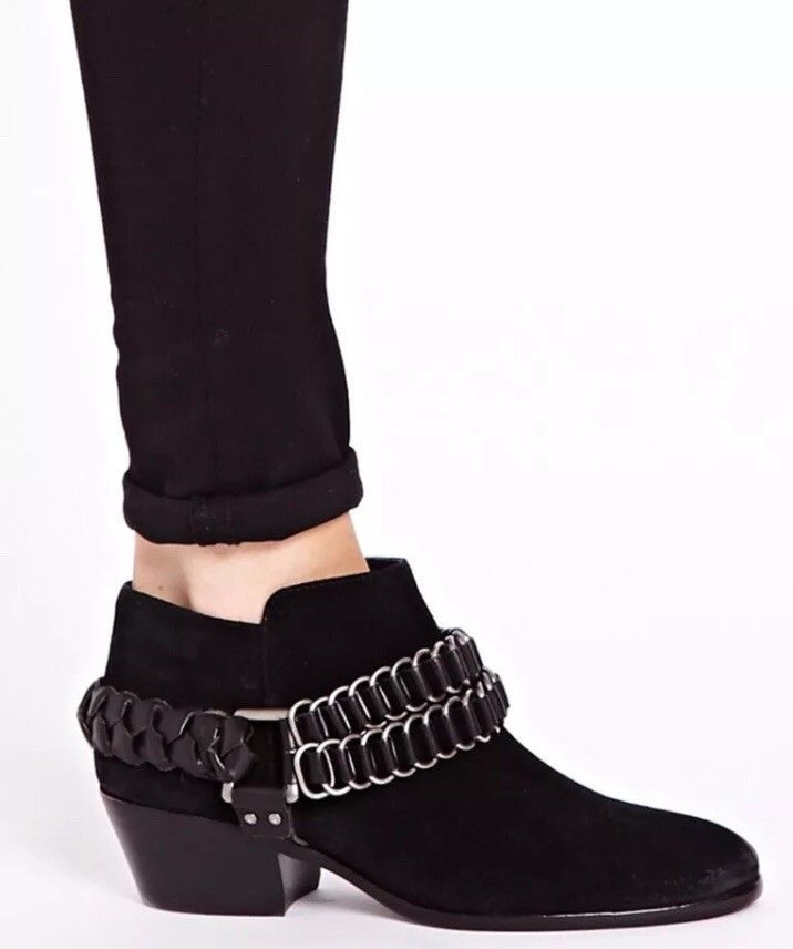 dde63ec92 SAM EDELMAN POSEY Black Suede Harness Biker Ankle Booties Women ...