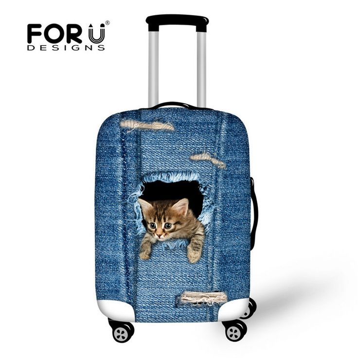 FORUDESIGNS Denim Blue Animal Cat Travel Suitcase Protector Cover 3D Dog Luggage Covers for 18-28 Inch Travel Case Elastic Thick