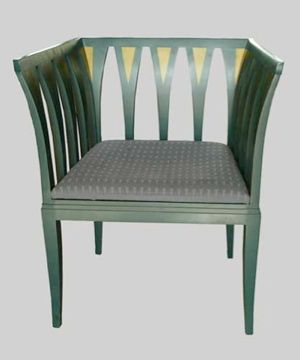 """Elegant art deco styled """"Blue Chair"""" designed in 1929 by Eliel Sarrinen and reissued in 1983 by the Finnish company Adelta Numbered 675 out of 1000."""