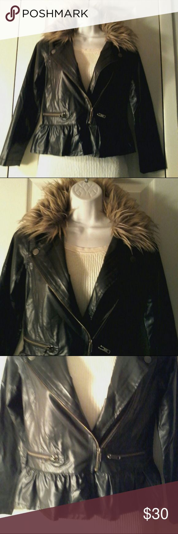Jessica Simpson Jacket Black jacket with faux fu r removable collar.  Size large. Jessica Simpson Jackets & Coats