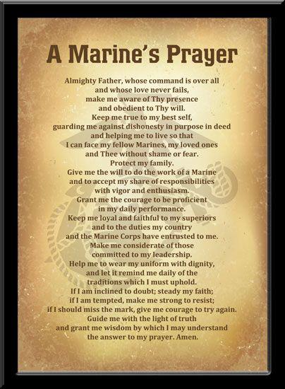 marines prayer | Plaque, 11x17: A Marine's Prayer (Vintage)