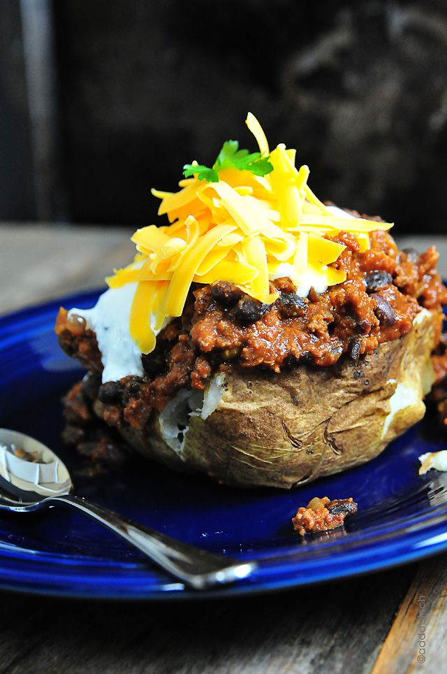 Chili Baked Potatoes from addapinch.com