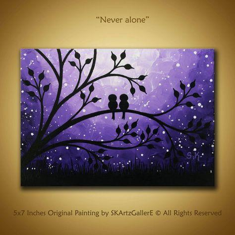Love birds Painting Mini Canvas art Purple Canvas Art Nightscape painting Love birds on tree Art Mini Painting Miniature Artwork 5x7 Canvas Art by SKArtzGallerE