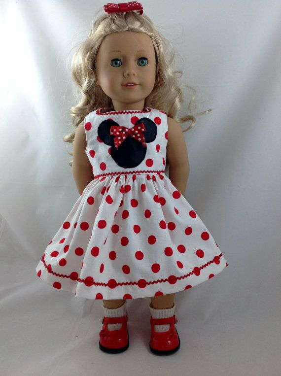 American Girl Doll Dress Spring Break Mickey Mouse Minnie Mouse Polka Dot Disneyland Disney World 18 in with FREE Hanger