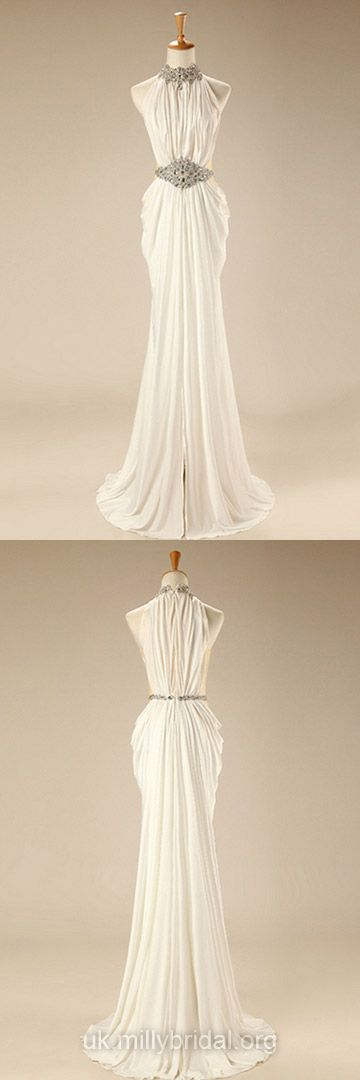 White Prom Dresses Long, 2018 Formal Dresses Chiffon, Modest Party Dresses Cheap, Sexy Evening Gowns Online