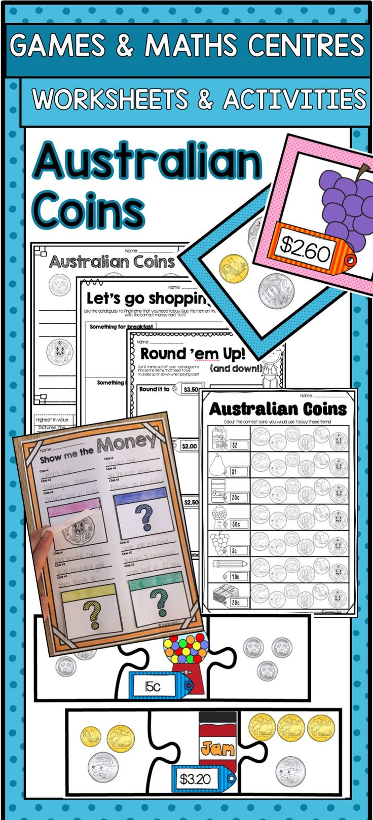 Australian money games, maths centres and worksheets!
