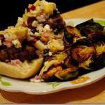 Mini Hamburger Sliders with Feta & Artichoke Salsa
