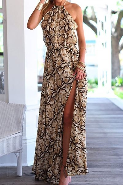 Snake Print Spaghetti Straps Maxi Dress