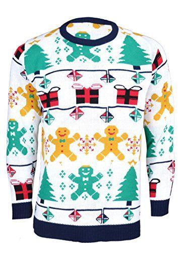 Noroze Mens Unisex Womens Gingerbread man Knitted Christmas Jumper (Mens XL (Womens 12-14), White) Noroze http://www.amazon.com/dp/B00PGF999W/ref=cm_sw_r_pi_dp_-xzHub01DP2GC