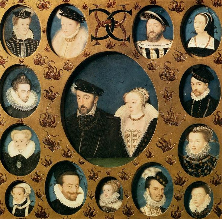 Henri II of France and Catherine de'Medici,surrounded by members of their family byFrançois Clouet,second half of 16th century