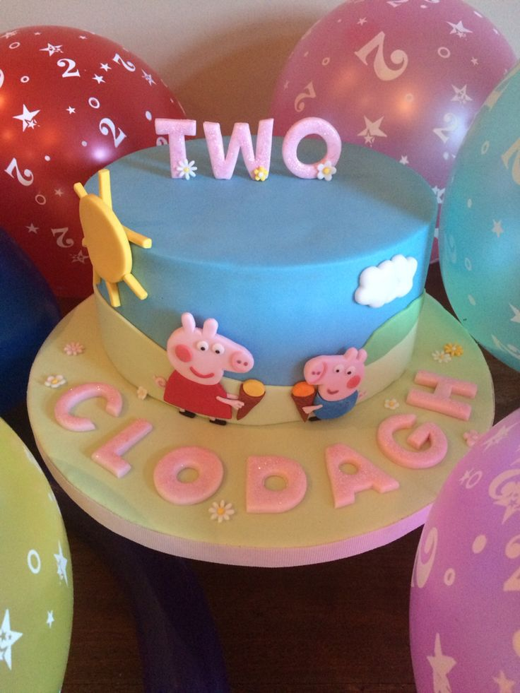 Peppa Pig & George cake!!! Cake was made by me for my beautiful daughter's 2nd birthday. 8 inch chocolate biscuit cake covered in milk chocolate ganache & fondant. The details were all cut by hand so it took a while! x