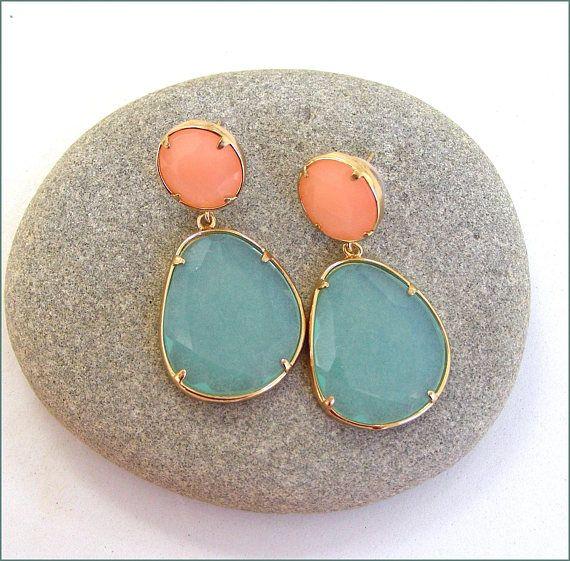 glass blue/pink nude woman earrings Boucles d'oreilles