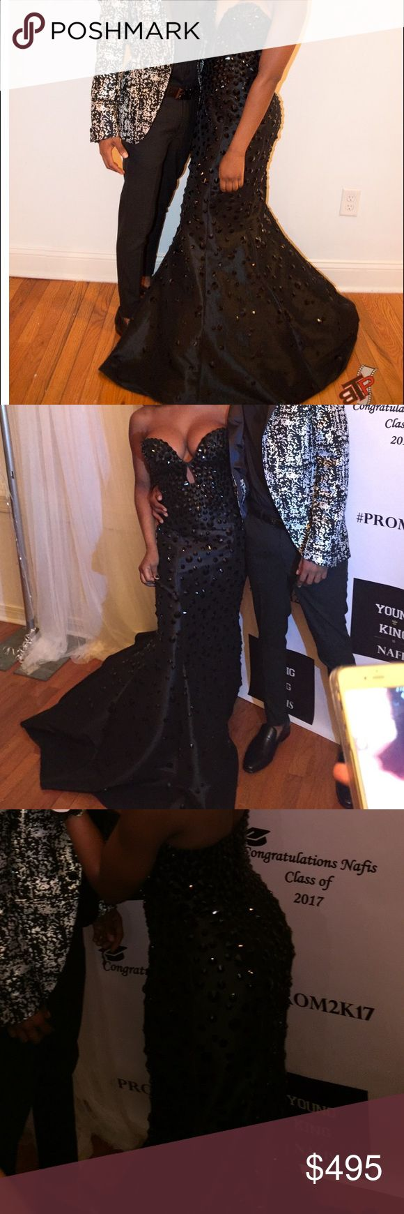 Jovani 944 Black Mermaid Beaded Gown This beautiful mermaid gown was worn on prom and was definitely a show stopper! The black on black is an amazing combination as shown in the pictures, when the light hits your are absolutely red carpet ready! The black is so timeless and can be worn for years to come! Jovani Dresses Prom