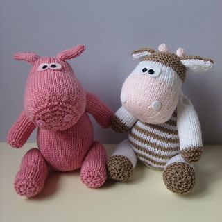 Chutney Cow and Pickles Pig knitting patterns by Amanda Berry