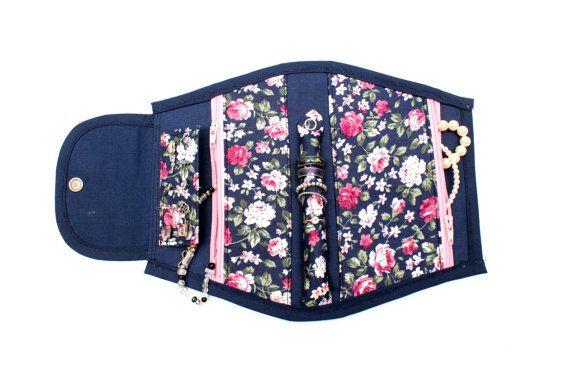 Small Portable Jewellery Holder With a Floral Pattern!