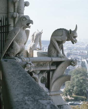 Three Grotesques, two of them Chimeras,  Cathedral of Notre Dame, Paris