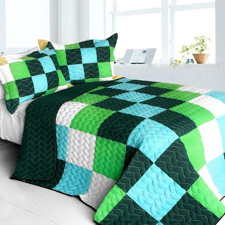Minecraft River Teen Boy Bedding Full/Queen Quilt Set Blue Green Black Blocks Patchwork Bedspread