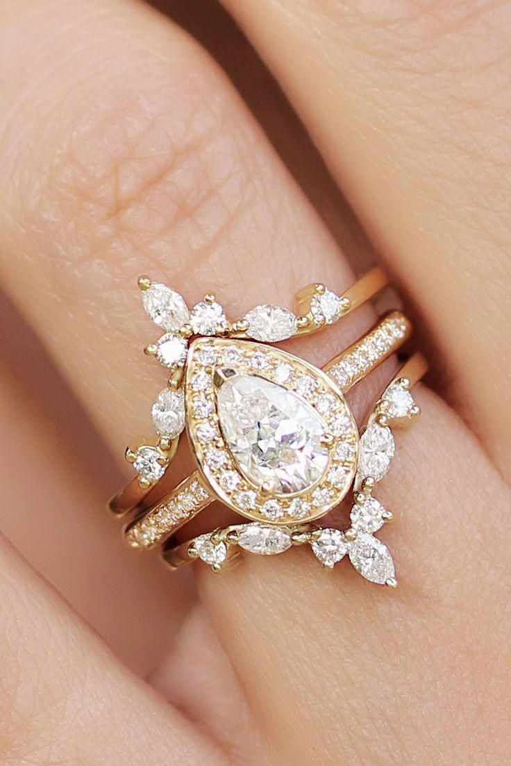Pear Diamond Halo Unique Engagement Rings Set, handmade by