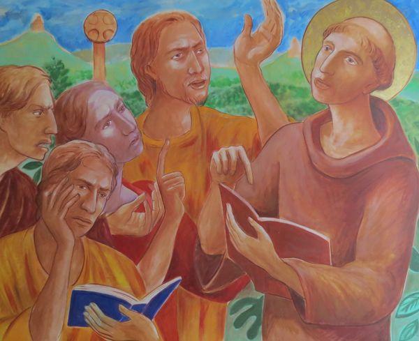 Santo Antonio de Pádua, pregando aos heréticos (albigenses). Calendário da revista O Mensageiro de Sto. Antonio, 28.000 exemplares.