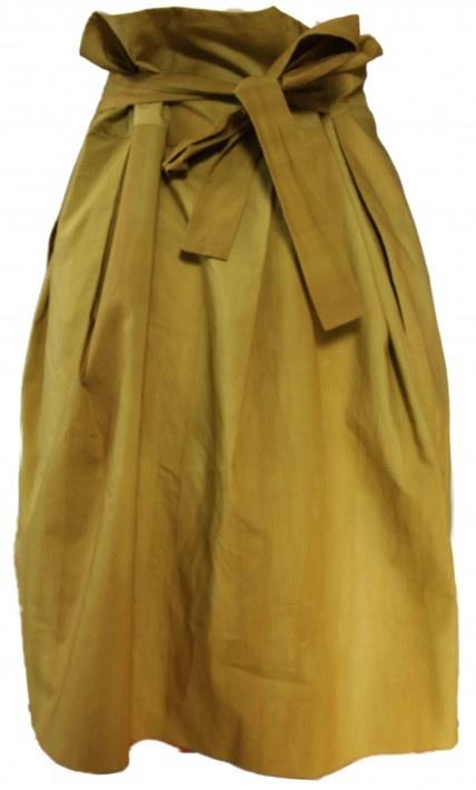 marni. sashed mustard skirt. black on black accessories