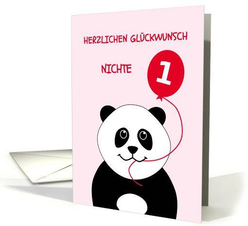Cute 1st birthday panda niece - german language card Herzlichen Gluckwunsch Nichte