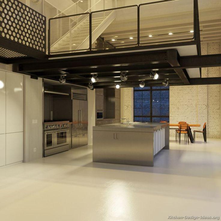 #Kitchen Idea of the Day: Contemporary Kitchen under a balcony loft.