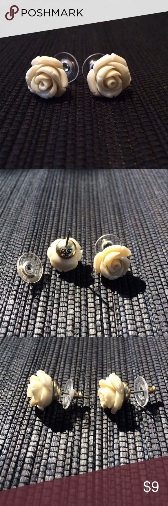 Betsey Johnson Ivory Rose Stud Earrings