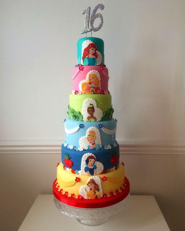 Six tier Disney Princess cake. Ariel, Aurora, Tiana, Snow White, Belle. Birthday cake, sweet 16. https://m.facebook.com/profile.php?id=115501985162602