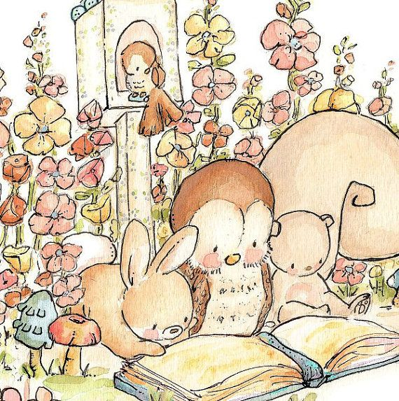 Children Art Print. GARDEN READING. Print 8X10. Nursery Art Home Decor