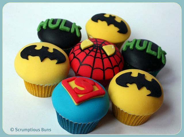 Super Hero Cupcakes by Scrumptious Buns (Samantha), via Flickr