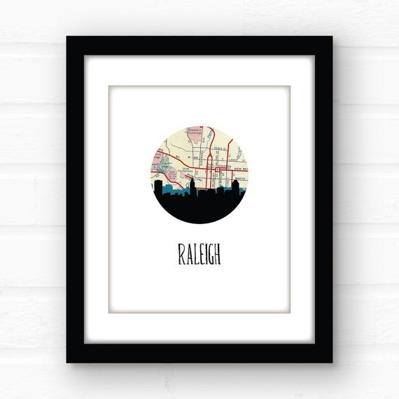 Raleigh NC map art  Raleigh skyline art print  Raleigh North