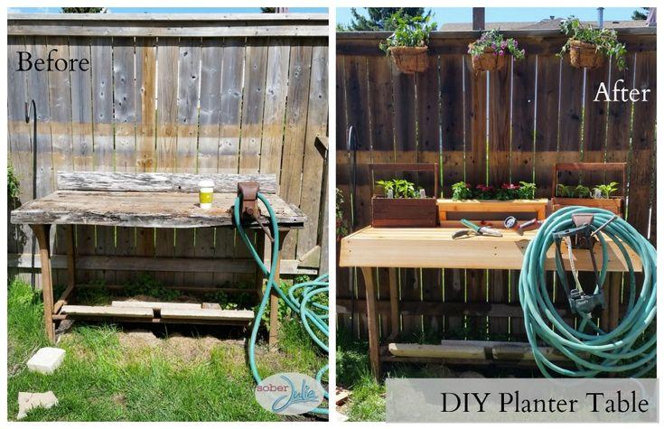 DIY Planter Table Project & WIN a Ryobi Drill - Sober Julie