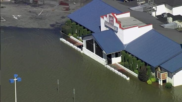 Sky 5 surveys flood damage at Bill's Barbecue in Wilson, N.C., on Oct. 9, 2016.