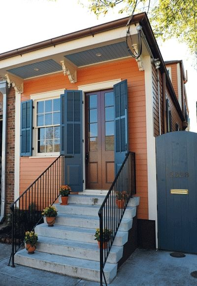 The colorful tiny house in Marigny is all new construction on a 15-foot lot. The house replaced the original 1830-era building that collapse...