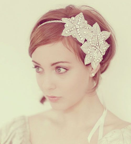 Bride with short hair wedding hairstyles