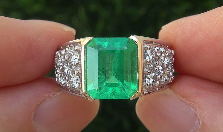 GIA 4.65 ct Men's Natural Emerald Diamond PLATINUM & 18k Gold Gents Ring TOP…
