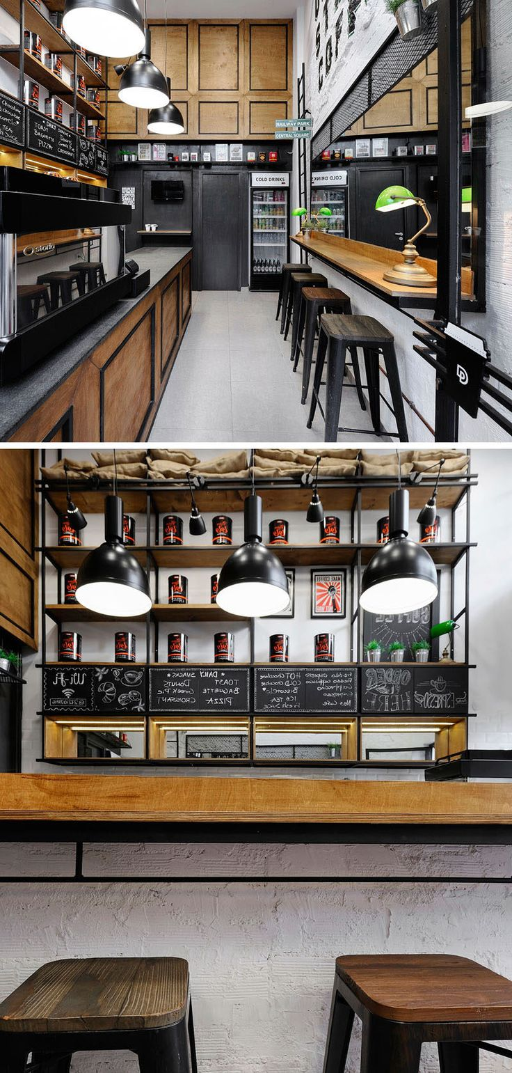 This small coffee shop (or coffee bar) in Greece, utilizes a mirror on the wall to make the space feel larger.