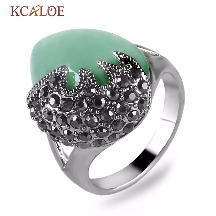Waterdrop Green Stone Ring Natural Jade Wedding Band Vintage Antique Silver Plated Rhinestone Engagement Rings For Women