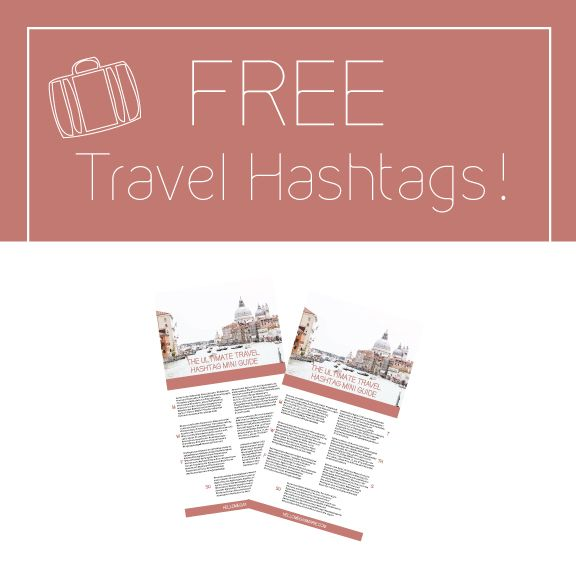 FREE TRAVEL HASHTAGS! The latest free travel resource is coming your way. Get your travel photography discovered on Instagram with a Monday through Sunday hashtag [copy + paste] mini guide. I've made it simple for you. Each day offers a little bit different [+ a little bit the same] hashtag bundle that are popular on Instagram. [With many taken from top travel bloggers!] DOWNLOAD it now and start tagging. http://eepurl.com/cyvSlz  #travel #instagram #photography #wanderlust