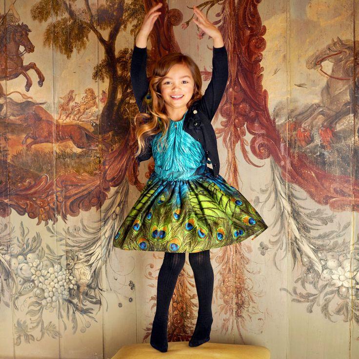 Jottum NWT green & blue peacock print cotton dress Seville winter 2015 all sizes