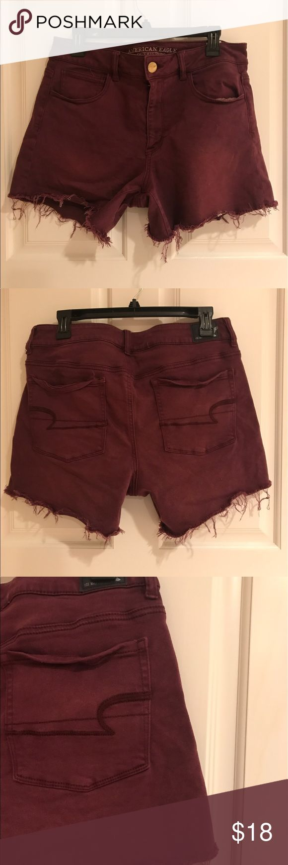 Super stretch maroon shorts These shorts are INSANELY soft! Great amount of super stretch. Very very comfy. Size 14 but can fit size 10-14 I am size 10 and these fit well. From American eagle. Wore once for a few hours. Like new. Perfect condition American Eagle Outfitters Shorts