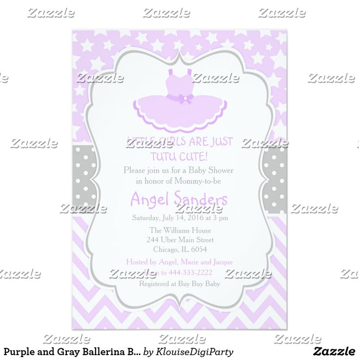 Purple and Gray Ballerina Baby Shower Card